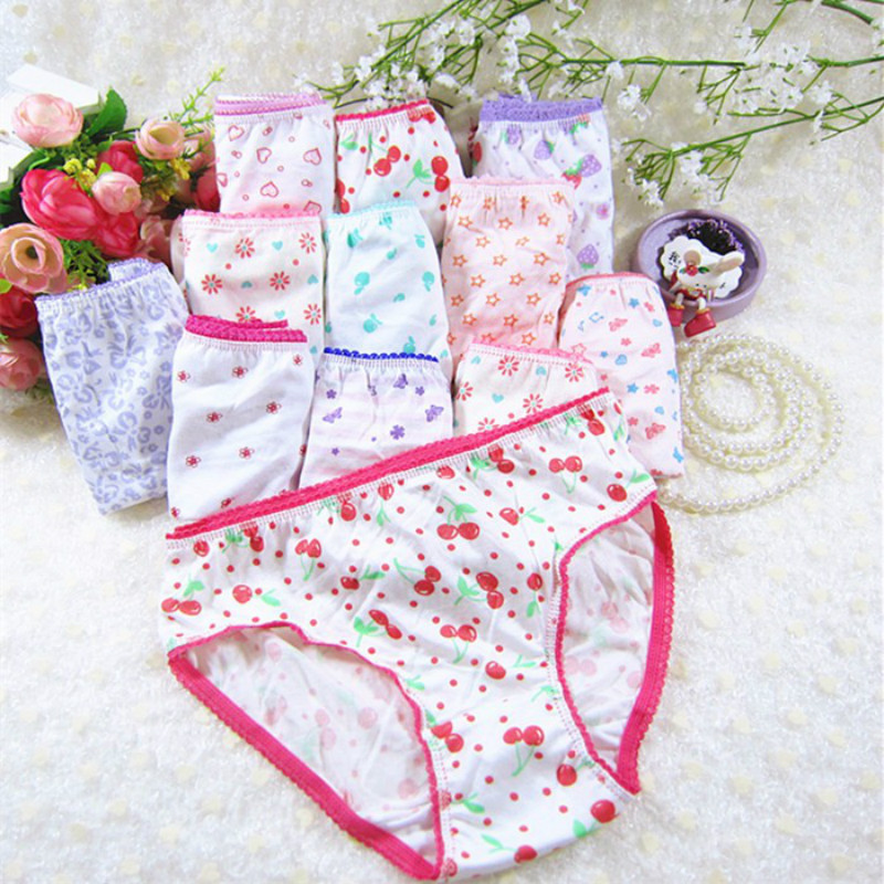 10Pcs/Lot Cotton Panties  Children Underwear Child Cartoon Shorts Underpants Girl Panties Girls Kids Short Briefs-10 Years