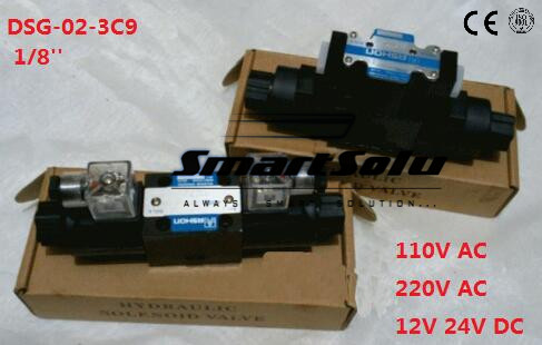 Free shipping DSG-02-3C9 1/8'' New Hydraulic Solenoid Directional Valve.Terminal Box Type or plug-in connector type,24V DC free shipping dsg 03 3c3 220v ac 1 4 solenoid operated directional control valve terminal box type plug in connector type