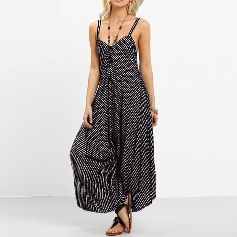 Backless Sexy Jumpsuit Women Summer 2019 Striped Strap Casual Jumpsuit Plus Size Female Boho Cotton Jumpsuit Womens Romper 3XL in Jumpsuits from Women 39 s Clothing