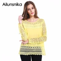 Ailunsnika White Hollow Out Lace Chiffon Blouse Women 2017 Summer Long Sleeve Tops Women Shirts Clothes