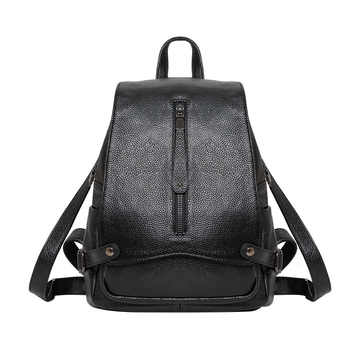Brand Genuine leather Backpack Women Leisure fashion black blue girls leather female backpack 2018 - DISCOUNT ITEM  33% OFF Luggage & Bags