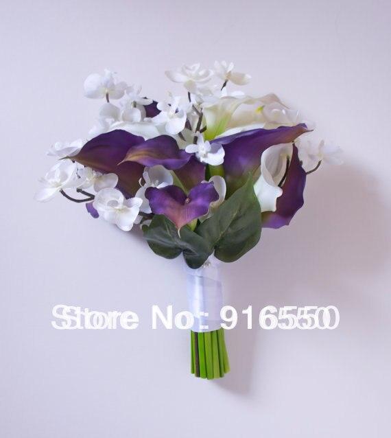 Purple Calla Lily And White Orchid Bridal Bouquet With White Calla
