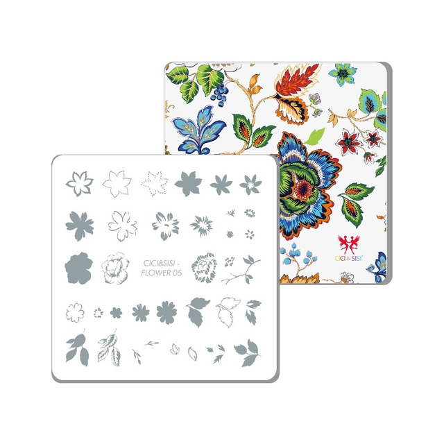 CICISISI New Nail Art Stamping Plate Decorations Konad Manicure Template Stamp Flower 05 06