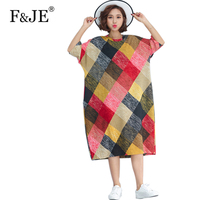 F JE 2018 Summer Fashion Women Batwing Sleeve Loose Dress All Matched Casual Plaid Long Dress