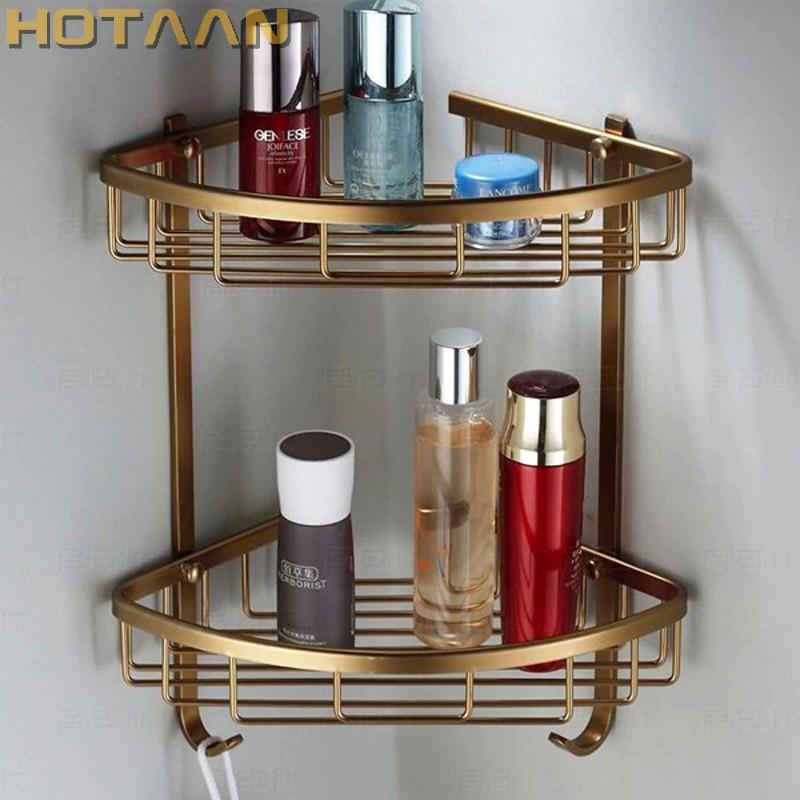 Free Shipping Wall Mounted Antique Finish Aluminum Bathroom Shower Shampoo Shelf  Basket Holder Fashion Double Layer YT-7004