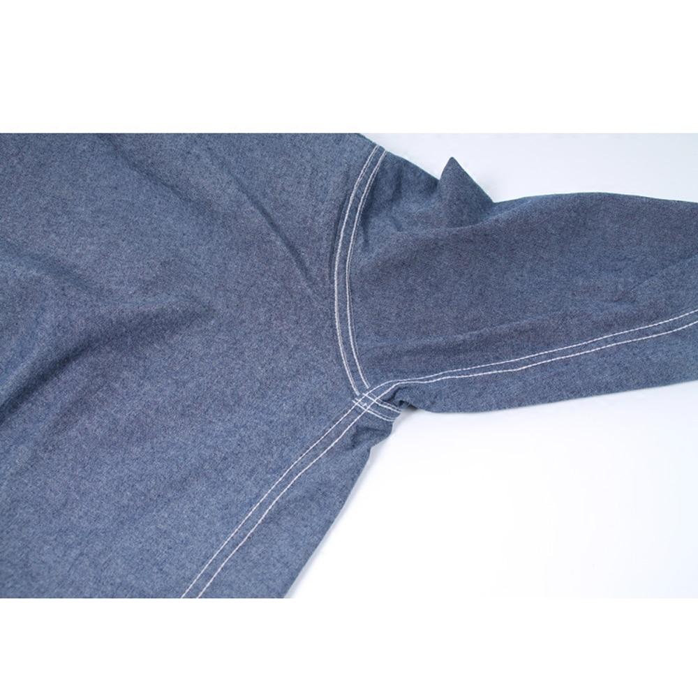 Image 4 - WW2 Reproduction Vintage bleu marine Denim Chambray chemise de travail hommes Fatigue utilitaireCasual Shirts