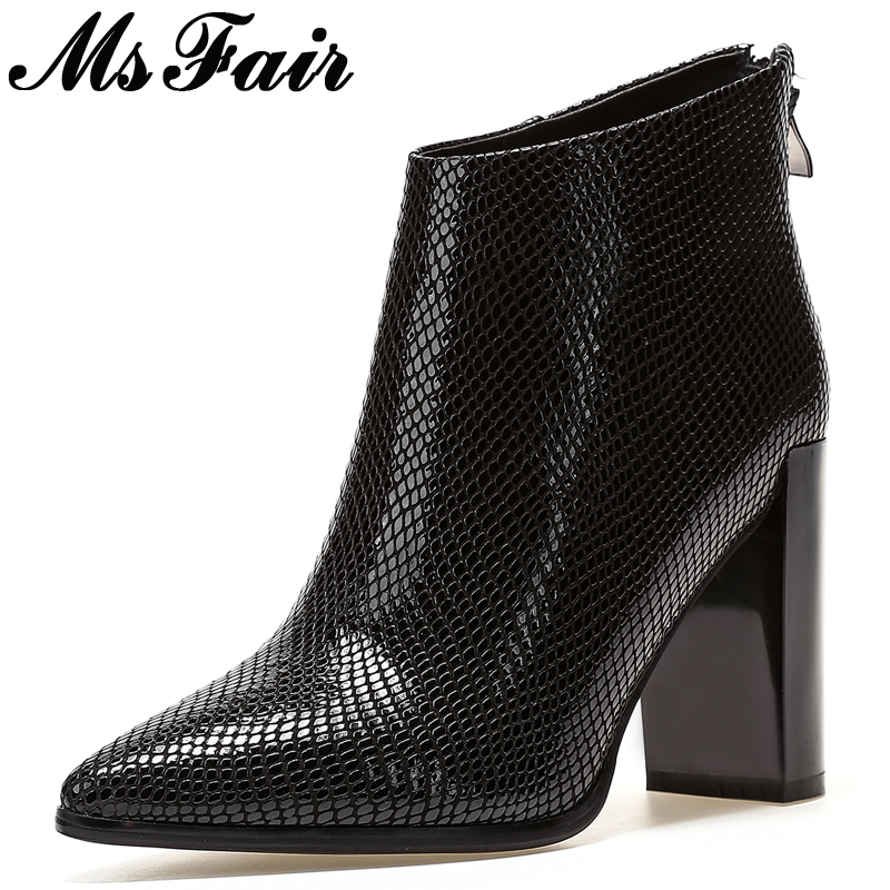 MsFair Pointed Toe Super High Heel Women Boots Zipper Square heel Ladies Ankle Boots Winter Fashion Crocodile Grain Women Boots nemaone 2018 women ankle boots square high heel pointed toe zipper fashion all match spring and autumn ladies boots
