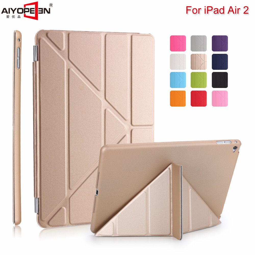 For iPad air2 Case pu Leather smart wake up sleep +solid pc back cover magnetic flip stand Origimi brand aiyopeen with gift bencus ipad air 2 case flip pu leather stand cover with auto sleep wake up function for ipad air 2 ii ipad air2 magnetic flip