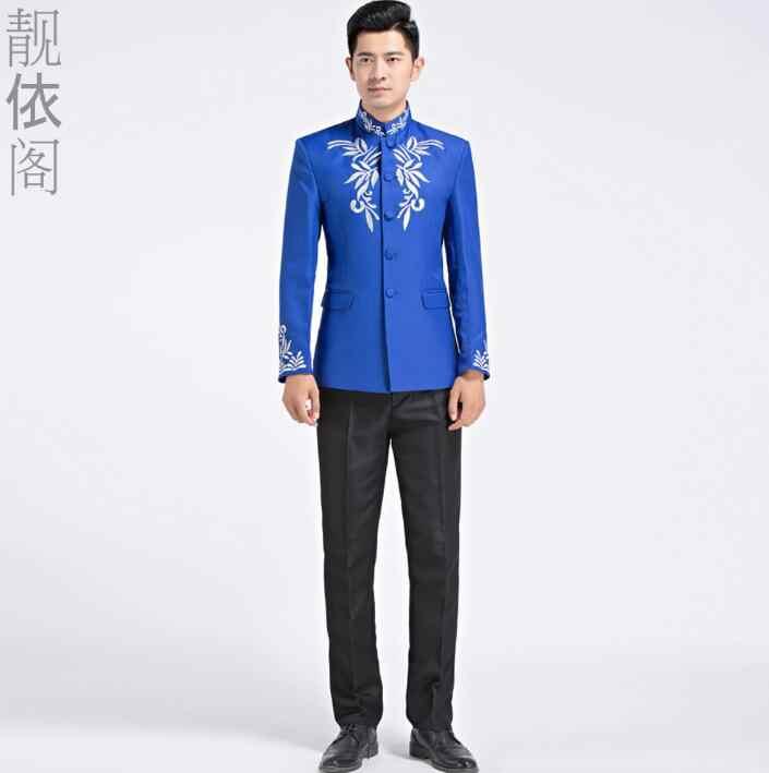 刺繍ブレザー男性フォーマルドレス最新コートパンツのデザインスーツ男性衣装中国チュニックスーツ結婚結婚式のスーツの