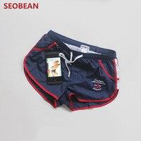 SEOBEAN Brand Running Shorts Men Gym Exercise Workout Training Athletic Sport Shorts Fitness Beach Short Bermuda