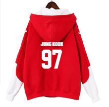 KPOP Bangtan JUNG KOOK jimin v Korean version Autumn and winter Harajuku Students loose Hooded zipper Sweatshirt women gothic