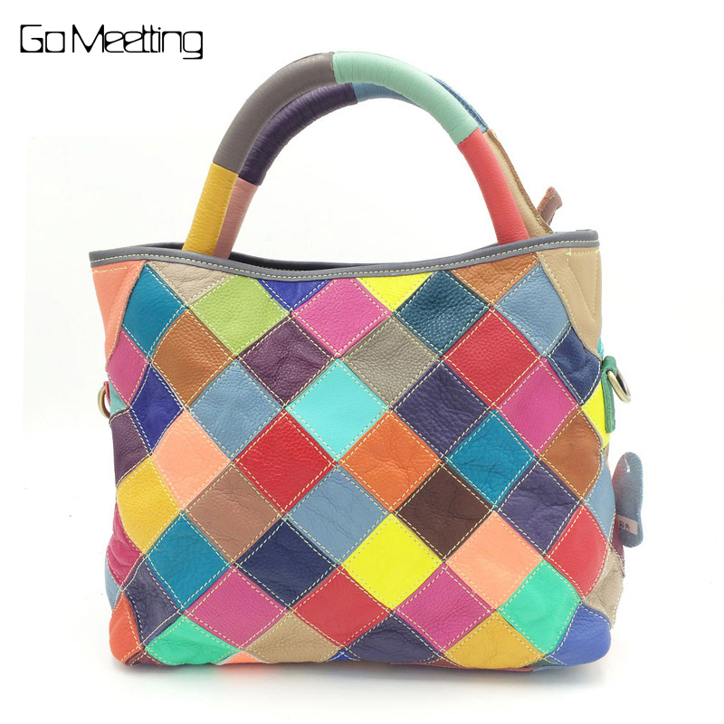 Go Meetting Genuine Leather Women Handbags Cow Leather Female Shoulder Bag Color Patchwork Lady Cross Body Messenger Bags 2016 genuine leather women s patchwork shoulder bag embossed cowhide handbags women messenger bag vintage cross body bags ws41