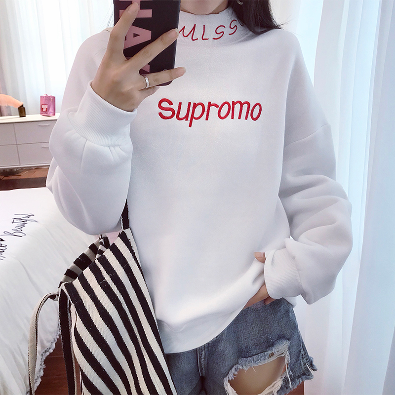 2019 Autumn Harajuku Fashion BF Hoodie Women Turtleneck Loose Student Sweatshirt Long Sleeve Letter Embroidery Sudadera Mujer