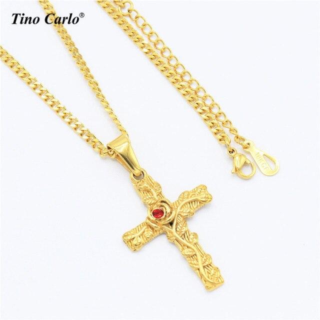 Tino carlo new hip hop rose cross necklace stainless steel gold 3d tino carlo new hip hop rose cross necklace stainless steel gold 3d thorn flower cross necklace aloadofball Choice Image