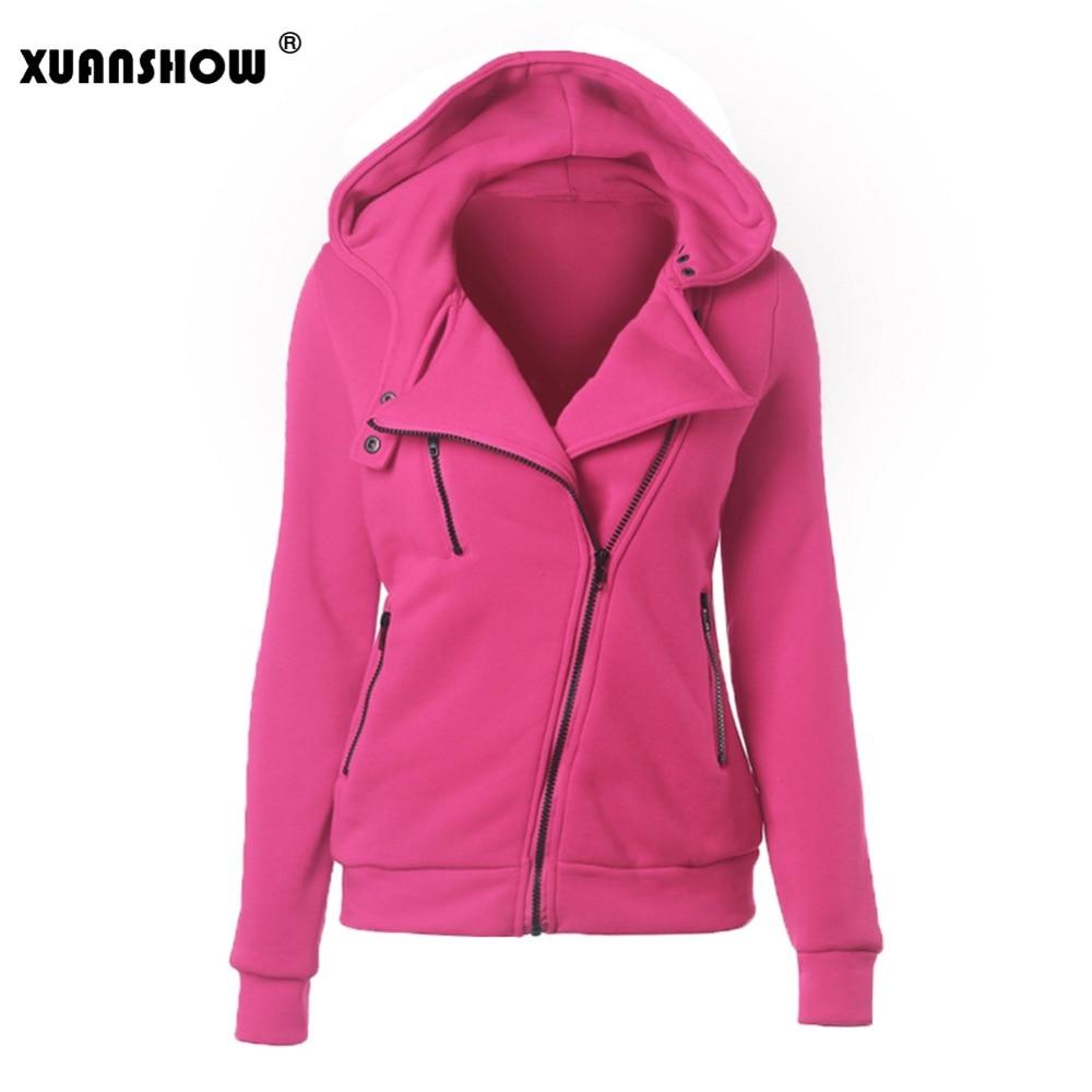 XUANSHOW Autumn Winter Women Hoodies Casual Solid Long Sleeve Zipper Fleece Sweatshirts Sportswear Outwear Mujer Sudaderas XXXL