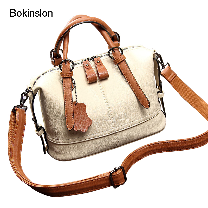 Bokinslon Woman Handbags PU Leather Stitching Color Ladies Crossbody Bags Fashion High Quality Female Shoulder Bags lignt brown stitching design crossbody bags