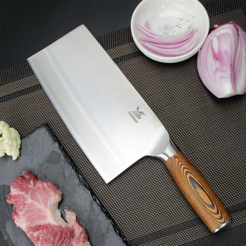 BIGSUNNY Chinese Kitchen Knife - 8 Cleaver - Chopping Knife - Vegetable Cutter -  9Cr18MoV Stainless Steel with Pakkawood Handle