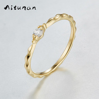Aitunan Simple CZ Cubic Zirconia 925 Silver Rings For Women Thin Stackable Rings Gold Color Dainty