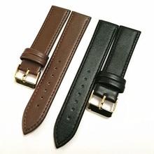 100 шт./лот, высокое качество, 20 мм, ремешок для часов, натуральная кожа, ремешок для часов, черный и темно-коричневый цвет и Золотая пряжка