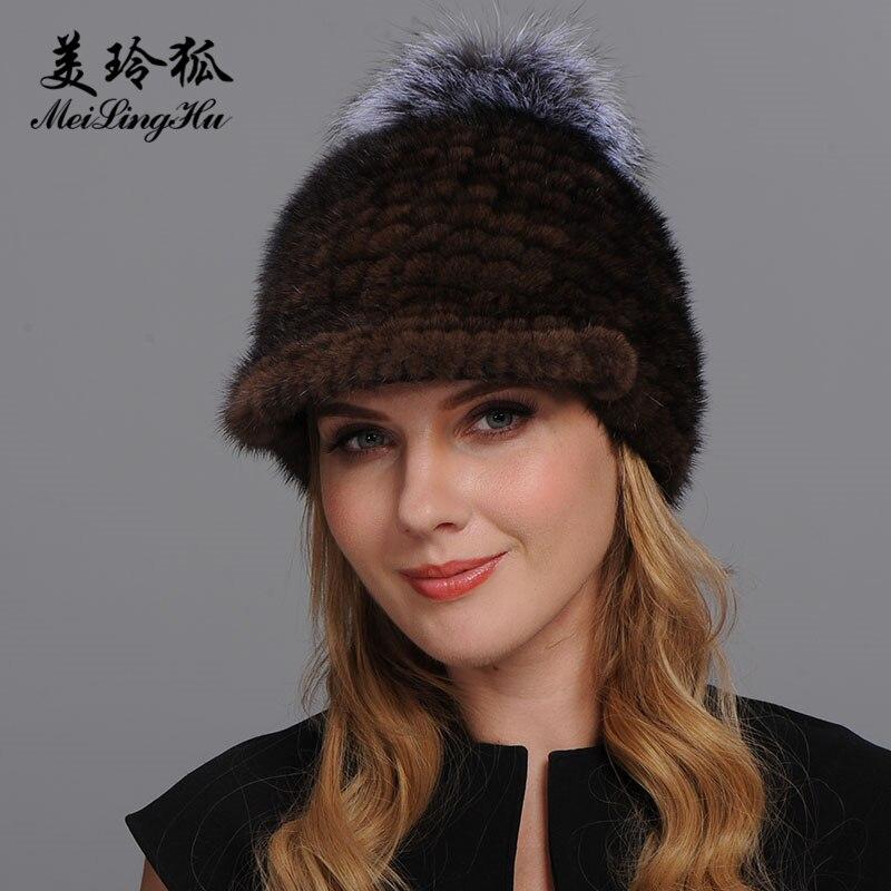 Femmes chapeau réel vison fourrure visière Cap chaud hiver véritable tricoté garantie 100% naturel fourrure chapeau dame de russie Pop fourrure chapeaux