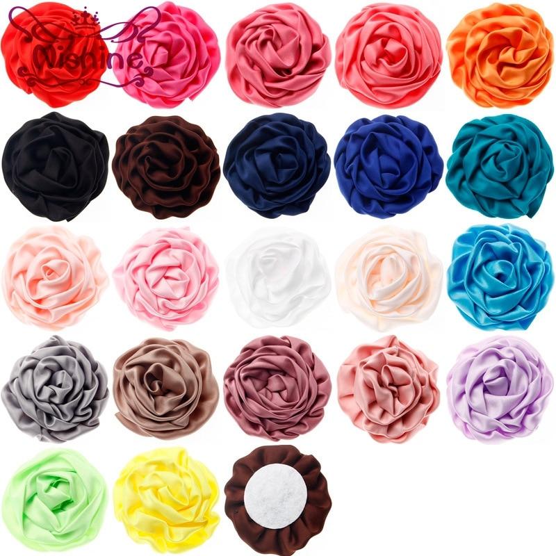 Nishine 10pcs/lot 7cm 22 Colors Satin Rolled Rose Flowers For Diy Hair Clips Headband Children Girls Decor Hair Accessories