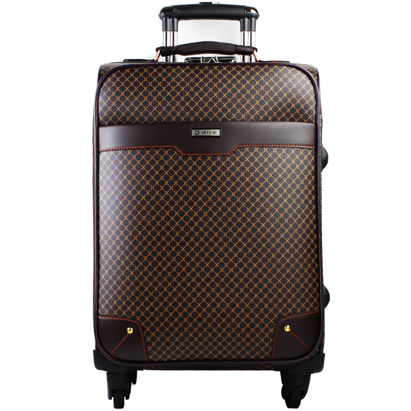 New Leather PVC Waterproof Luxury Men Women Rolling Luggage Suitcase Designer 20Inches High Quality 4 Wheels Spinner Airport