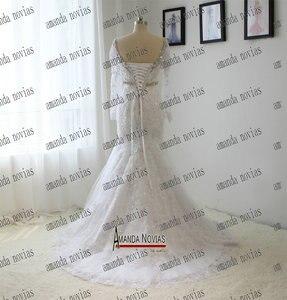 Image 5 - Echt Fotos V ausschnitt Langarm Spitze Strass Kristall Hochzeit Kleid Mit Abnehmbaren Rock