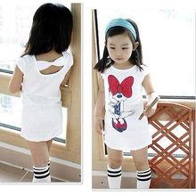 2016 Kids Girls Minnie Long T-shirt Birthday Party Dress Bow DRESS Clothes 3-8Y