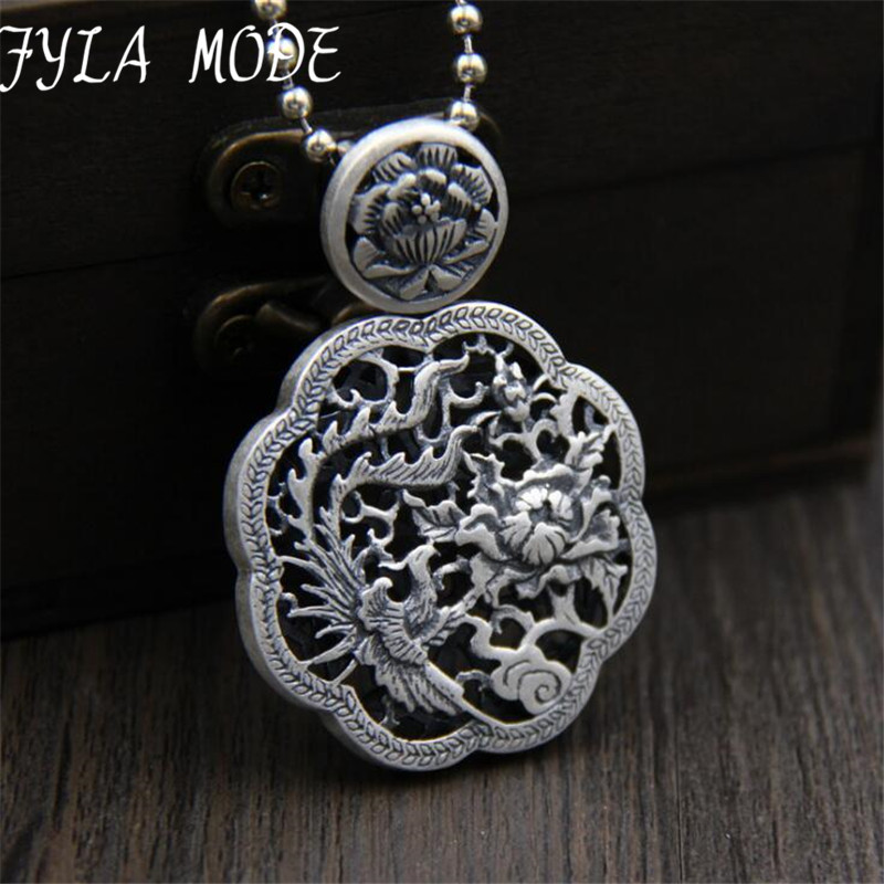Exquisite S999 Pure Silver Peacock Pendant Necklace Fashion Charm Peony Jewelry For Women Sweater Necklace Accessories TYC263Exquisite S999 Pure Silver Peacock Pendant Necklace Fashion Charm Peony Jewelry For Women Sweater Necklace Accessories TYC263