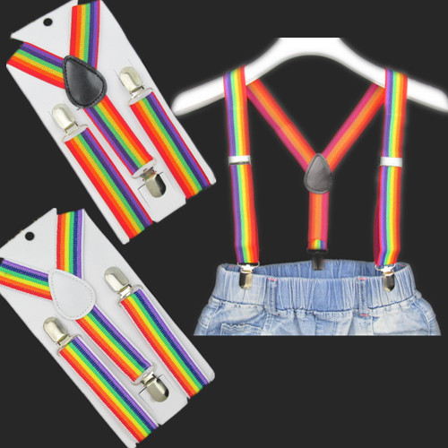 BD011--Hot Sale 2 colors Rainbow Stripe kids Suspenders 3 clips-on high quality baby braces 10pcs/lots free shipping