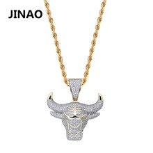 JINAO الموضة مكعب الزركون مثلج خارج سلسلة قلادة الثور شيطان الملك قلادة الهيب هوب مجوهرات بيان قلادة بلينغ هدية للرجل