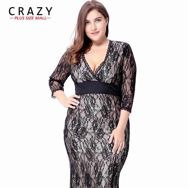 Crazy Plus Size Mall  Women Maxi Dresses New Elegant Graduation Party Dresses V-neck Sexy Lace Dress 6XL 5XL 4XL XXXL