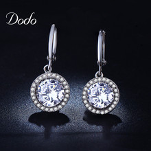 round filled with crystal women's CZ diamond drop earring white gold plated pendientes boucle d'oreille Wedding dress brincos 21