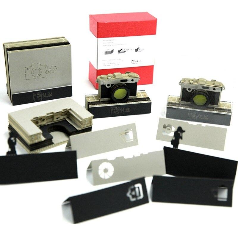 3D stéréoscopique caméra papier collant créatif commémoratif note mémorandum pratique autocollant progressif rétro cahier AB451
