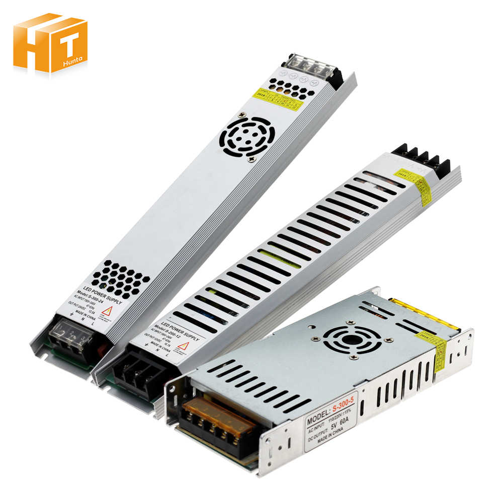 Ultra Thin LED Power Supply DC 5V / 12V / 24V Lighting Transformers 200W 300W AC190-240V Driver For LED Strips