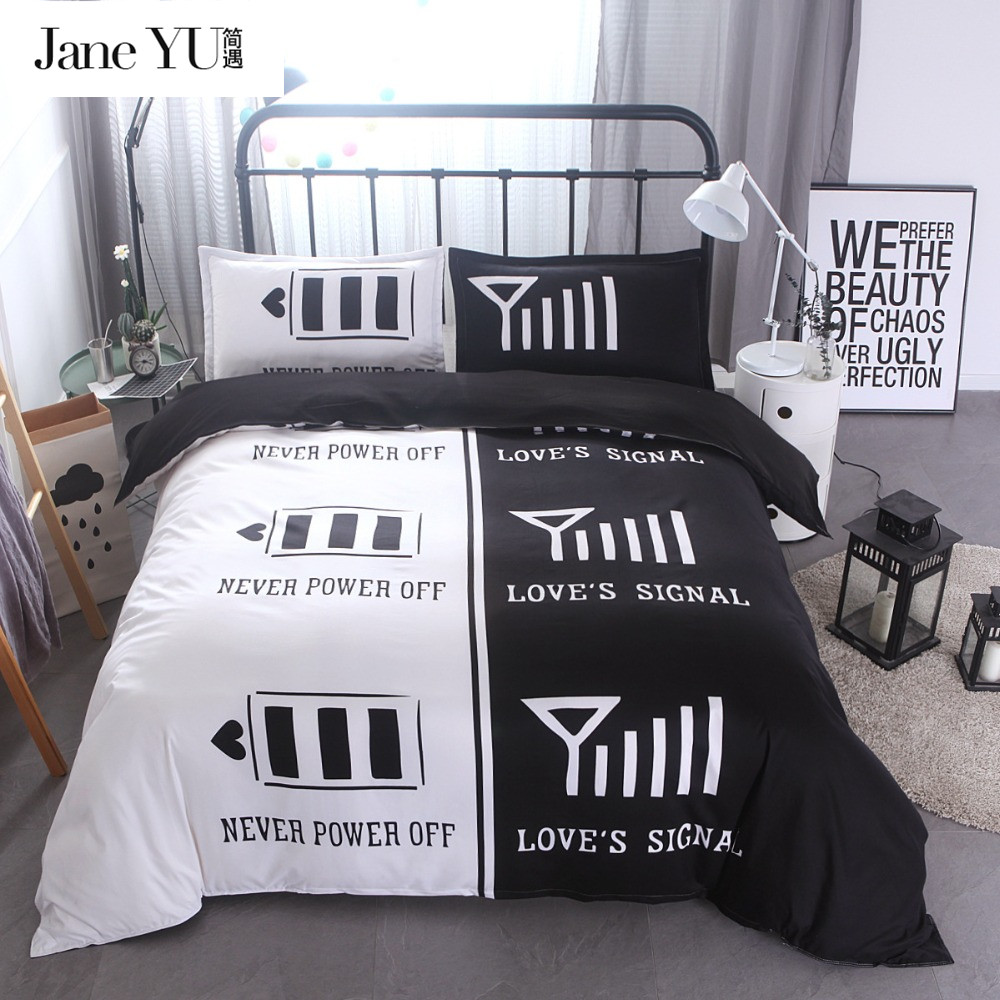 Janeyu lovers 3d black white bedding sets queen king size - Housse de couette orientale ...