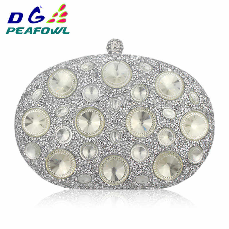 c40a1cb2f29 DG Peafowl Giant Light Blue Rhinestones Women Evening Bags Metal Minaudiere  Wedding Party Crystal Clutch Handbag Formal Purses