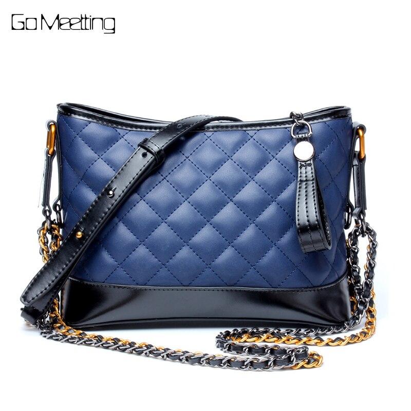 NEW 2017 Brand Hobos Real Leather Women Shoulder Bags Diamond Lattice Cowhide Women CrossBody bag Chains Messenger Bags стоимость
