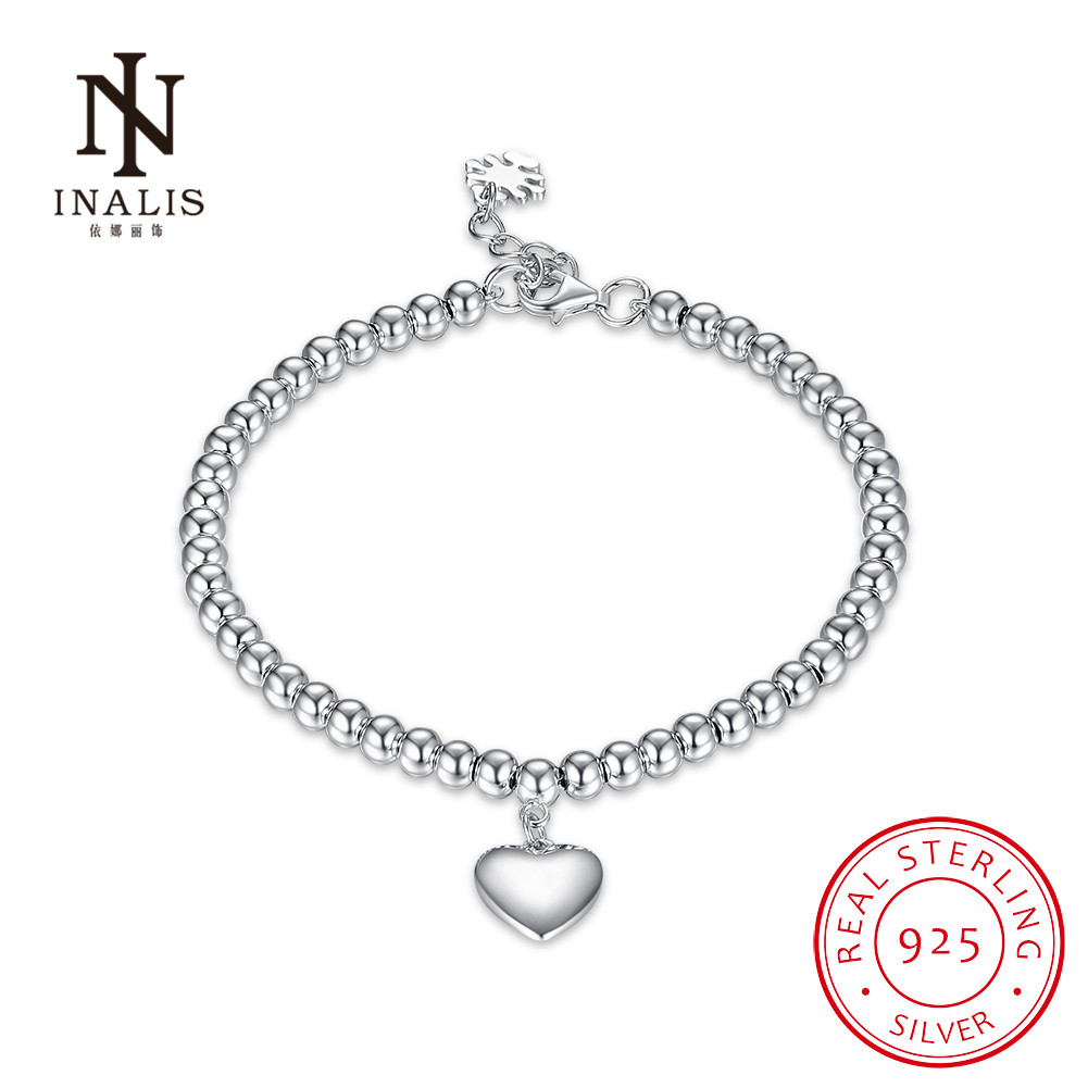 INALIS Fashion 925 Sterling Silver Heart Shape Beaded Bracelet Trendy Wedding Fine Jewelry Charm Gift For