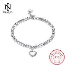 Inalis Мода 925 стерлингового серебра в форме сердца браслет из бисера модные свадебные Fine Jewelry Шарм подарок для женщин