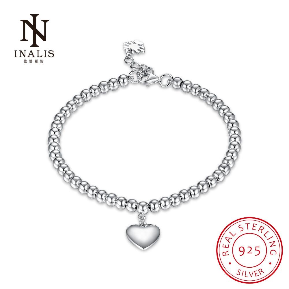 INALIS Fashion 925 Sterling Silver Heart Shape Beaded Bracelet Trendy Wedding Fine Jewelry Charm Gift for Women