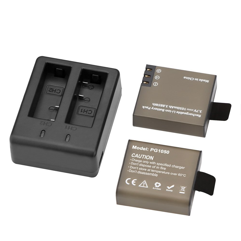 2pcs PG1050 Batteries + Dual USB Charger For SJCAM SJ4000 sj8000 sj9000 H9 H9R H8 H8R H8PRO SOOCOO C30 Sport Camera