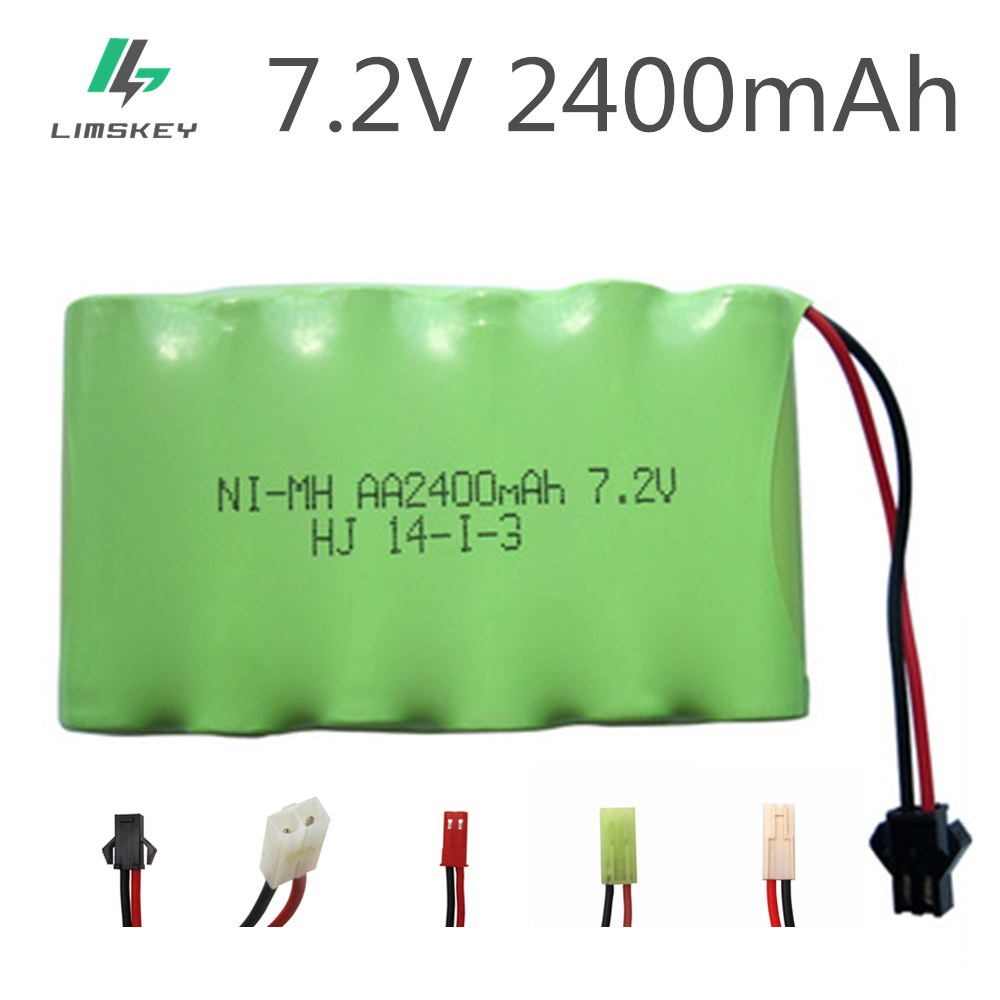 1pack 2400mah 7.2v rechargeable pack battery nimh 7.2v / aa nimh battery ni-mh 7.2v for Remote control electric toy tool boat aob ni mh aa2400mah 2400mah 1 2v rechargeable ni mh battery grass green