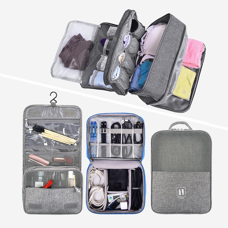 Fashion Travel Cosmetic Bag Set Women Men Underwear Shoes Toiletries Makeup Bag Digital Cable Wire Gadget Organizer Accessories