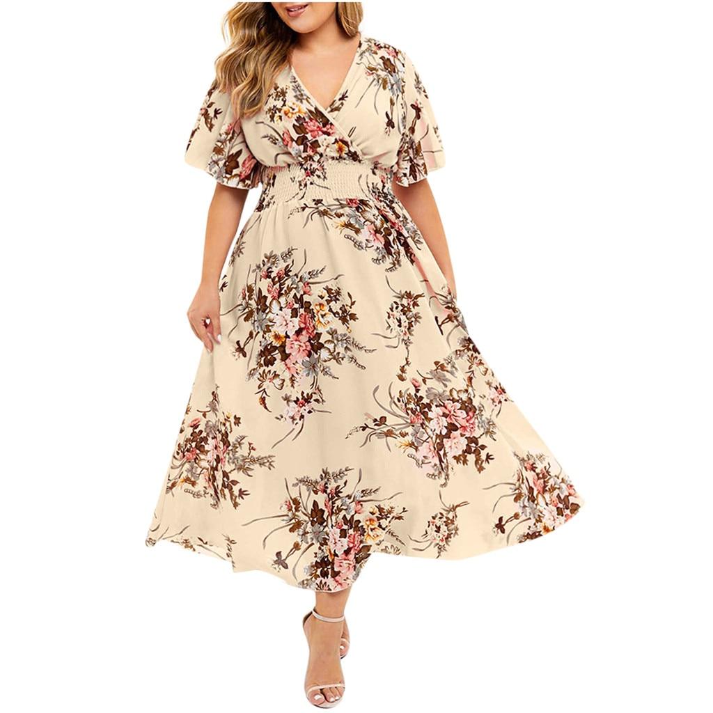 Vestido de verano de flores Vintage con cuello de pico, cintura alta