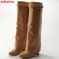 Zobairou Zapatos Mujer Shark Tooth PantLeg Knee High Boots Pointy Celebrity Shark Lock Height Increasing Wedge Boots Shoes Women