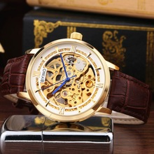 2017 Kinyued Skeleton Mechanical Watch Automatic Men Classic black Gold Leather Mechanical Wrist Watches Reloj Hombre цена и фото