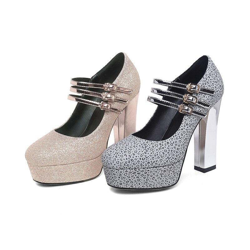 Mode De Pompes 2019 Mariage Dames Wetkiss Talons Printemps Nouveau Femmes Glitter Chaussures Haute Femme Jane Bout Or argent Mary Carré cfq4E0FwY4