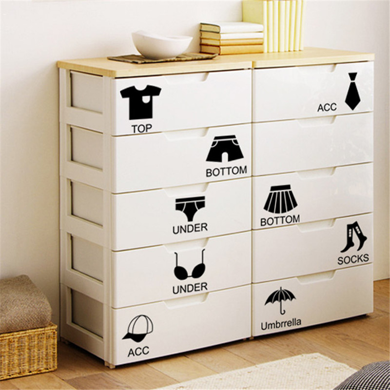 Hot Selling Removable Home Decor Wall Sticker Locker Bedroom Chest Sticker Storage Lable Art Stickers Diy