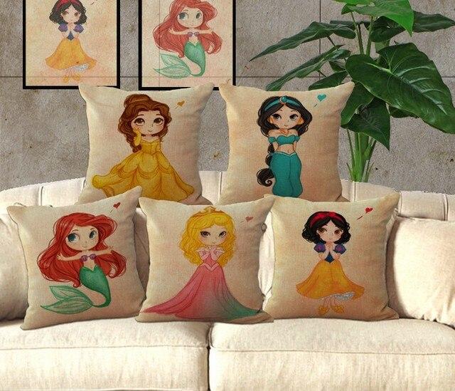Mermaid Princess Linen Cotton Pillow Cover Home Decor Cushions Cover Unique Princess Decorative Pillows